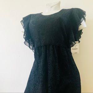 Zara ruffle sleeve midi dress black new sz M